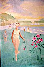 Photo: Versailles, au parc et roses (150*100 cm) huile sur toile 2003                    Photo Argentique