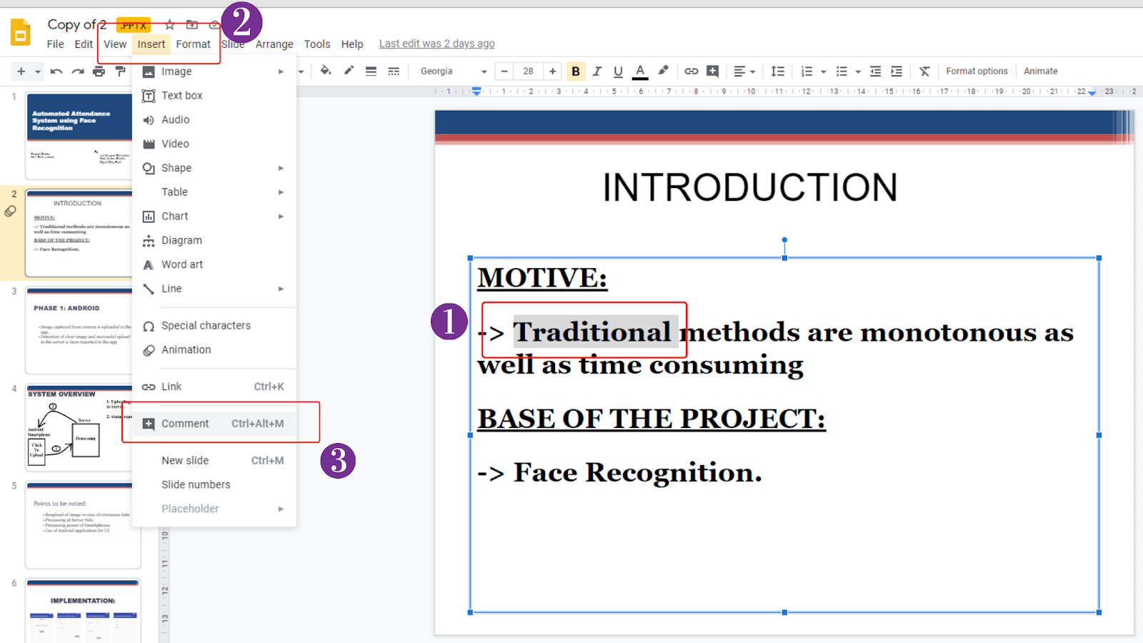Image showcasing how to add comments in Google Slides using the Insert Tab on the Menu Bar