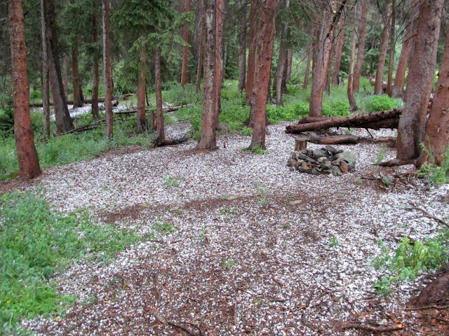 Hail at our campsite