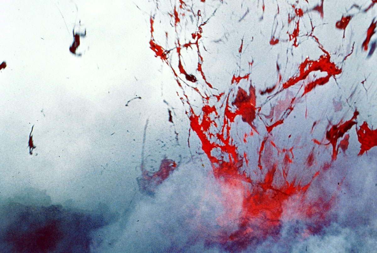 Splatter of lava from the explosion