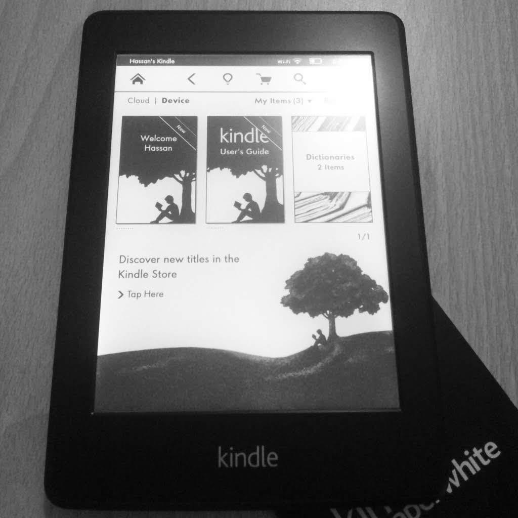 Tampilan home Kindle Paperwhite dalam format cover