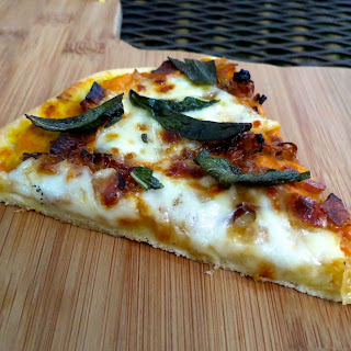 Pumpkin Sauce Pizza with Caramelized Onions, Bacon & Sage
