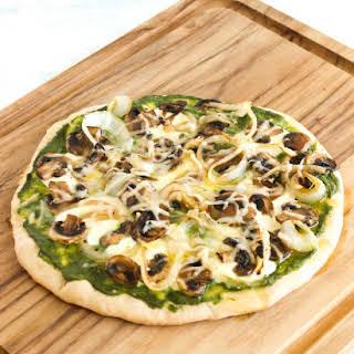 Mushroom Onion Pesto Pizza.