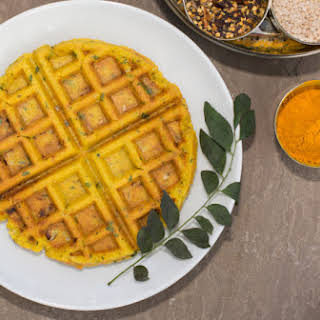 Savory Indian-spiced Lentil And Rice Waffle.