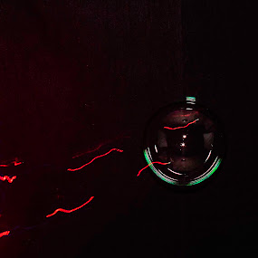uno bubble by Duane Vosika - Abstract Light Painting ( red, macro, bubble, light trails, long exposure, water, soap, flash,  )