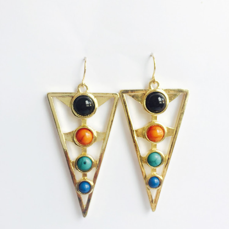 E032 - M. Four Row Rainbow Beads Earrings