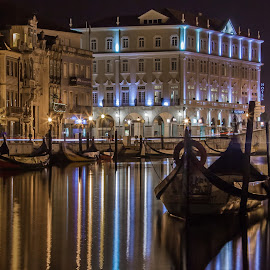 Aveiro by night by José M G Pereira - City,  Street & Park  Night ( aveiro, reflections, night, city scene, nightscape, cityscape, city lights, boats, lines, colors,  )
