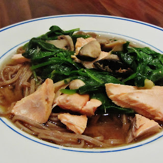 Salmon Miso Soup with Soba Noodles.