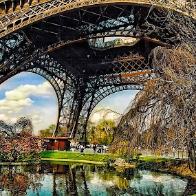 Tour Eiffel by Marco Caciolli - Buildings & Architecture Architectural Detail ( canon, paris, landmarks, hdr, location, eiffel, france, lake, travel, flower )