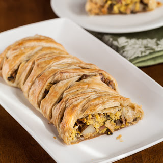 Puff Pastry Breakfast Braid with Eggs, Ham, Potatoes, Mushrooms, and Goat Cheese.