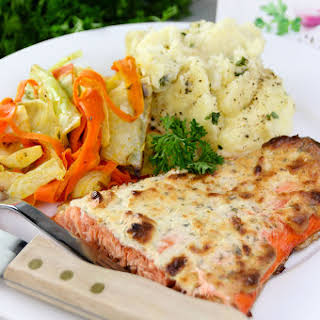 Salmon Bake with Alouette Garlic & Herbs Soft Spreadable Cheese.