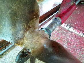 Photo: プロペラ。 シャフトにもPEラインが巻きついてます。