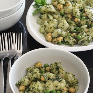 Cauliflower Peas and Garbanzos with Pesto