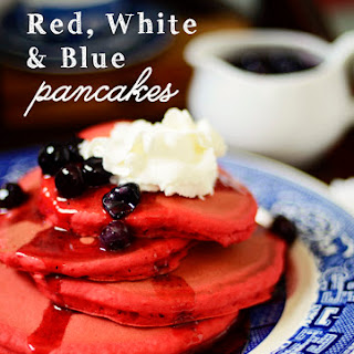 Red, White & Blue Pancakes with Blueberry/Strawberry Syrup.
