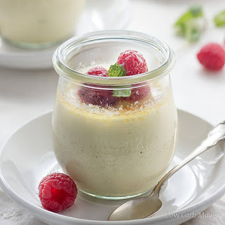 Low Carb Raspberry Creme Brulee with Champagne.