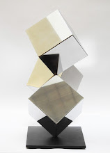 Photo: 18 REFLECTIONS - 19H X 22W X 9D Polished Stainless Steel, Painted Mild Steel, Side 1 View