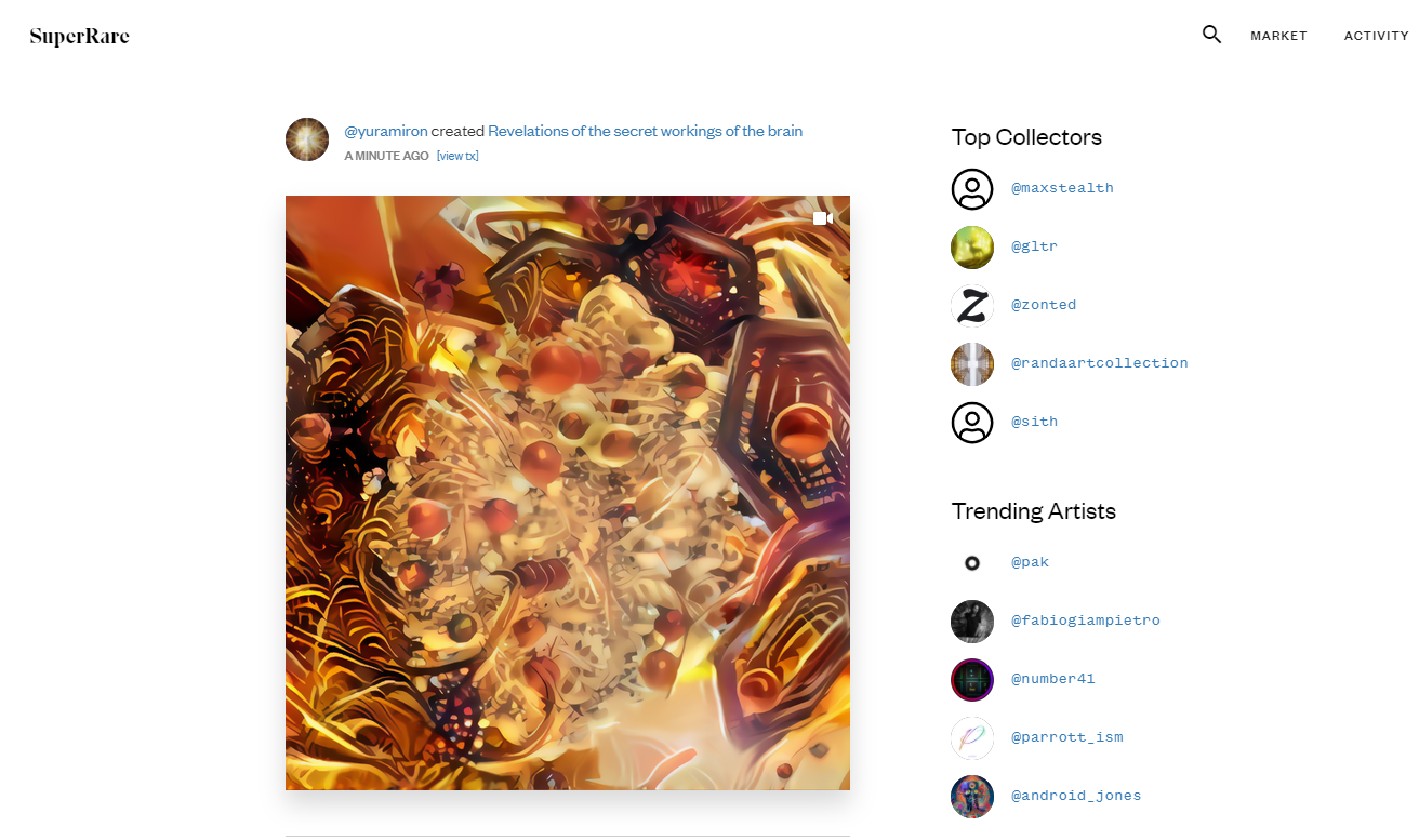 Users at SuperRare can track trending works of art