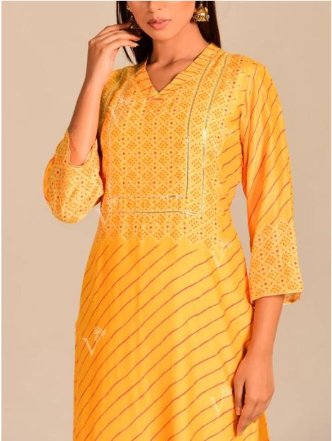 Yellow Leheriya Printed Kurti online