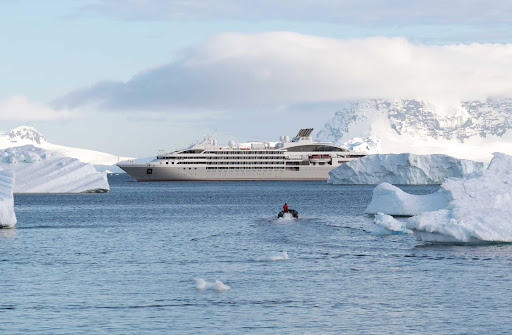 Le Lyrial during a visit to  Cuverville Island in Antarctica.
