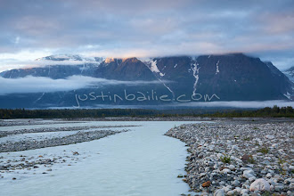 """Photo: Scenic image of glacial creek flowing into the Tashenshini River. The """"Tat"""" flows out of Yukon, CA, through British Columbia and empties into Glacier Bay National Park in Alaska, US."""