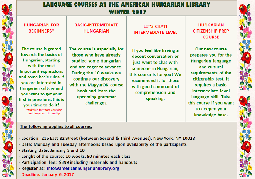 Our Hungarian Language Courses Continue!
