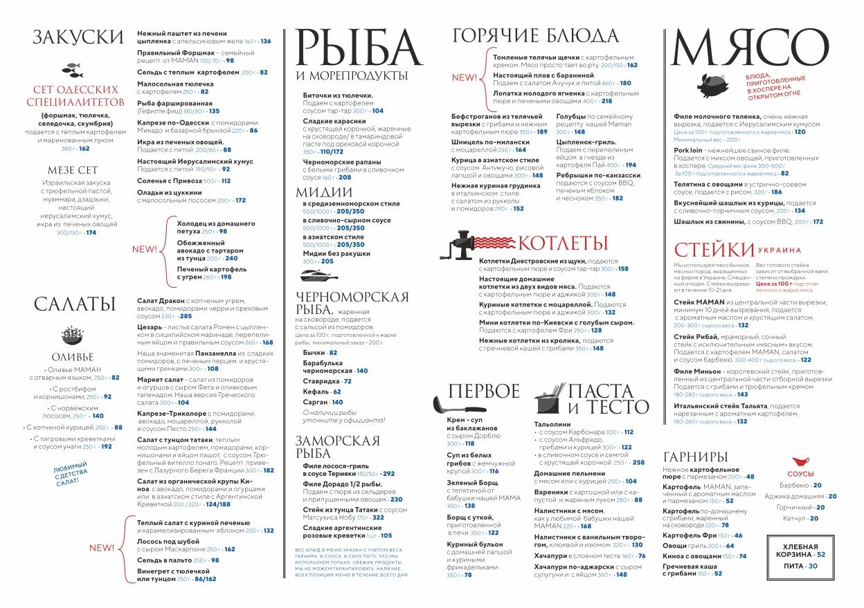 Приклад меню у одному із закладів Одеси