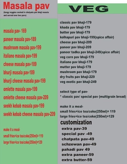 Mad Pav Bhaji menu 1
