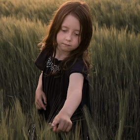 Reach Out  by Una Williams Photos - Babies & Children Child Portraits ( field, sunset, girl, family, child )