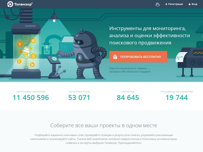 Topvisor — аудита сайта в Яндексе, Google, Рамблер, Mail.ru, Yahoo