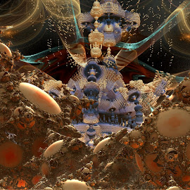 The Guilded Towers by Rick Eskridge - Illustration Sci Fi & Fantasy ( b/g jwildfire, b/g mb3d, mb3d, fractal, twisted brush )