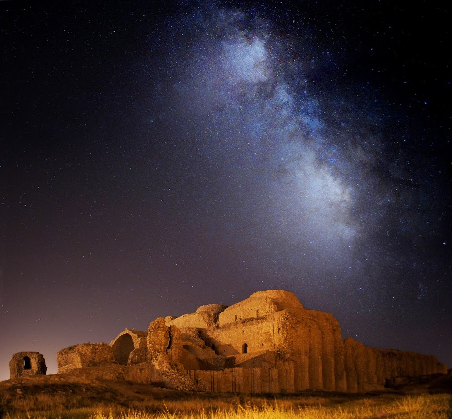 MILKY way at the top of FIROOZABAD palace by Aria Aref - Travel Locations Landmarks ( night, lights, country, rustic, rural, old, backroads, barn, silo, farm, crops, family,  )