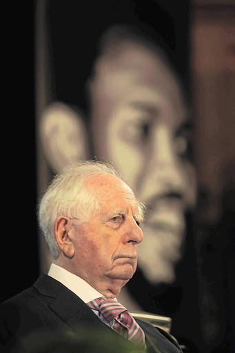 Sir Sydney Kentridge speaks at the 12th annual Steve Biko Memorial Lecture at the University of Cape Town last night Picture: SHELLEY CHRISTIANS