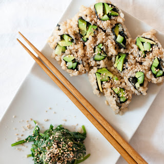 Sesame Miso Spinach Salad (Goma-ae) & Vegetable Sushi.