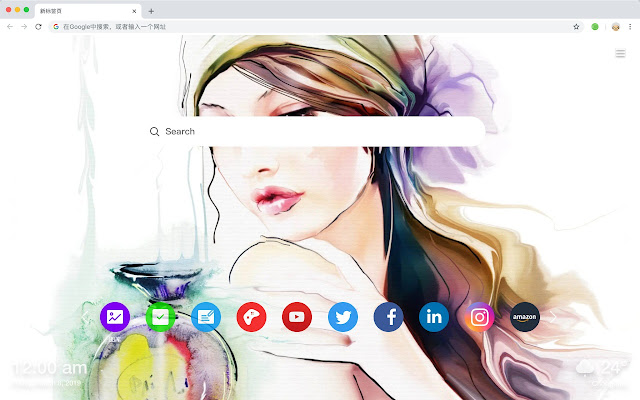 Watercolor Popular Painting HD New Tabs Theme