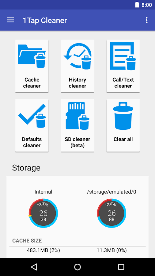 1Tap Cleaner Pro (clear cache, history, call log)- screenshot
