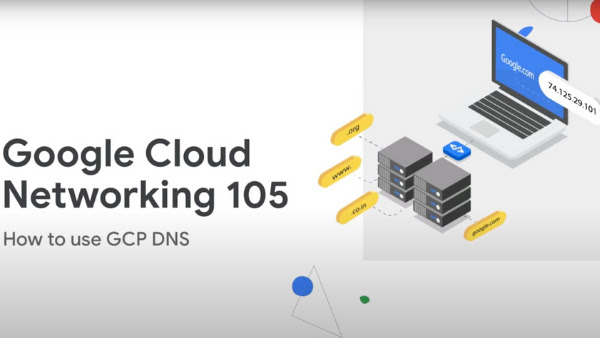 Google Cloud Networking 105 How to use GCP DNS in text with a picture of a laptop with an IP address across it.