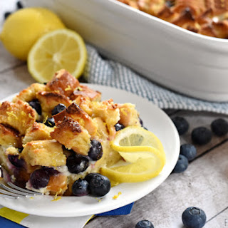 Lemon Blueberry Overnight Baked French Toast with Lemon Syrup