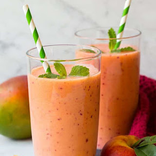Mango Peach and Strawberry Smoothie.
