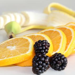 Fruit salad by Annalie Coetzer - Food & Drink Fruits & Vegetables ( orange, fruit, diet, slmming, weight loss, food, slices, sliced, dalad, healthy, bananna, blackberries )