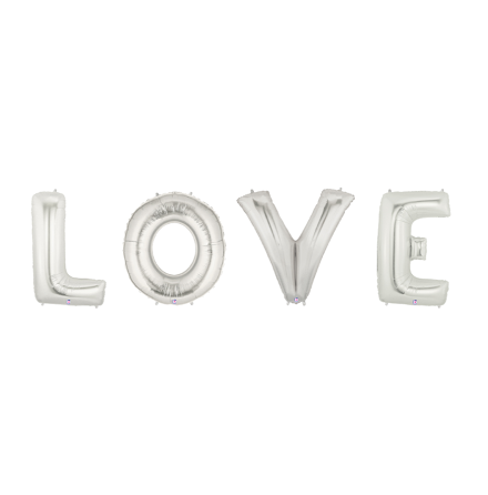 Folieballonger - LOVE, silver