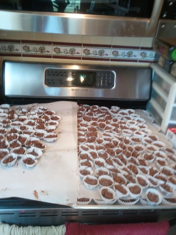Peanut Clusters, and lots of them waiting to be packaged for an upcoming event.