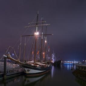 Sail Boston 2017 Night Shot by Paul Gibson - Transportation Boats ( water, boston, night photography, ship, long exposure, night, nightscape,  )