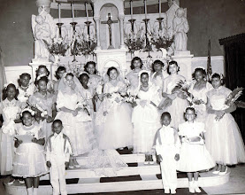 Photo: 1954 May Procession Court _Shirley Simms_May Queen_St Cyprian Parish
