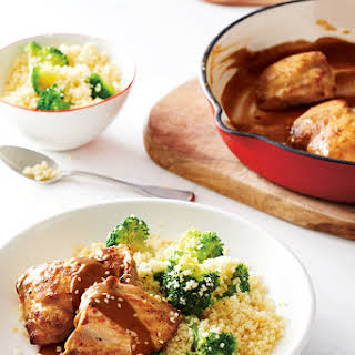 Maple-Mustard Chicken Thighs with Lemon-Broccoli Couscous.