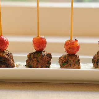 Kefta-Style Meatballs with Grilled Grapes and Yogurt Sauce Recipe