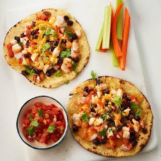 Shrimp and Black Bean Tostadas with Crudite and Salsa.