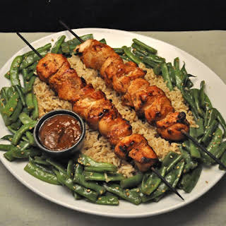 Grilled Chicken Satay with Peanut Sauce.