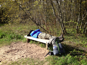 Photo: Doug was in a hurry to leave our last campsite at Au Sable East. This was what he was hurrying for: a good snooze at The Logslide.