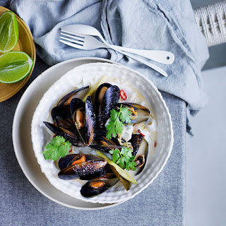 Thai-style Mussels And Noodles In Lemongrass-coconut Broth.