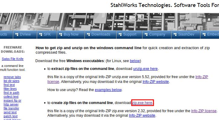 info-zip's zip.exe